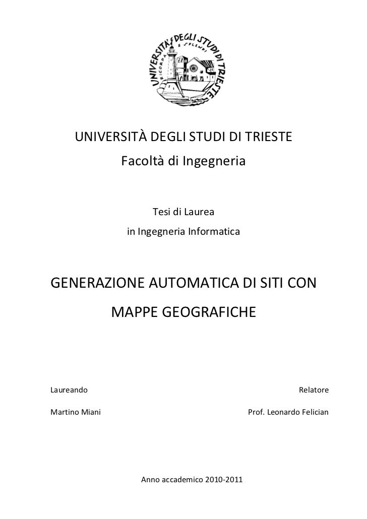 UNIVERSITÀ DEGLI STUDI DI TRIESTE                 Facoltà di Ingegneria                      Tesi di Laurea               ...