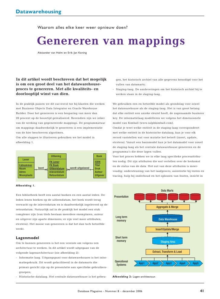 Datawarehousing                  Waarom alles elke keer weer opnieuw doen?                   Genereren van mappings       ...