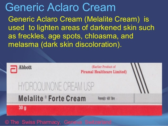 Generic Aclaro Cream  Generic Aclaro Cream (Melalite Cream) is  used to lighten areas of darkened skin such  as freckles, ...