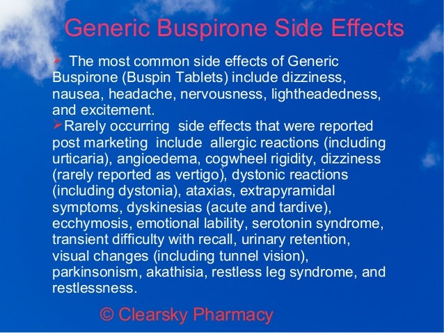 Buspar Side Effects Numbness