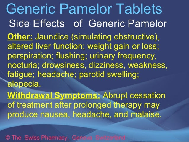 Pamelor Withdrawal Side Effects