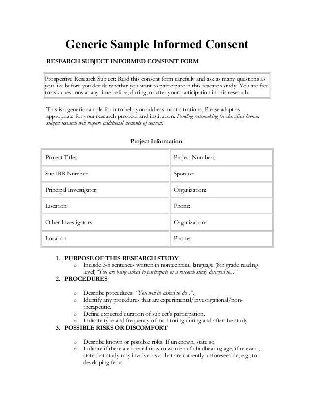 generic consent form template informed consent in spanish