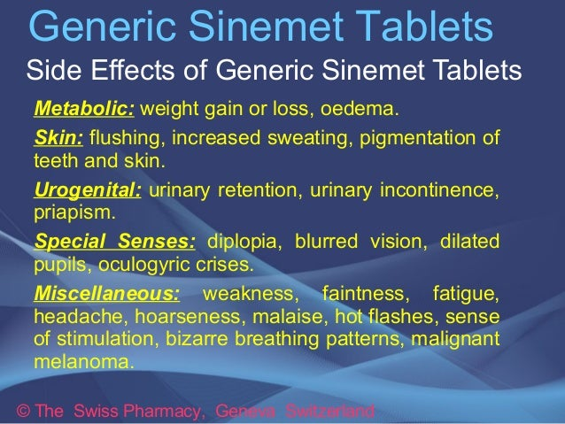 Generic Sinemet Tablets For Treatment Of Parkinson S