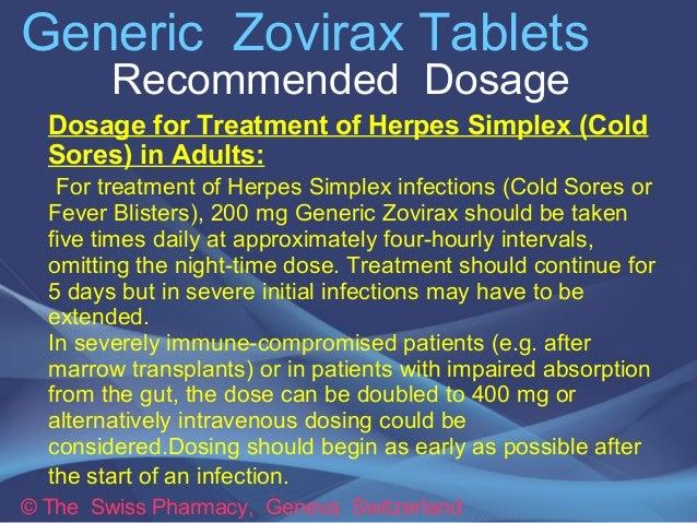 Zovirax Cream Dosage Herpes