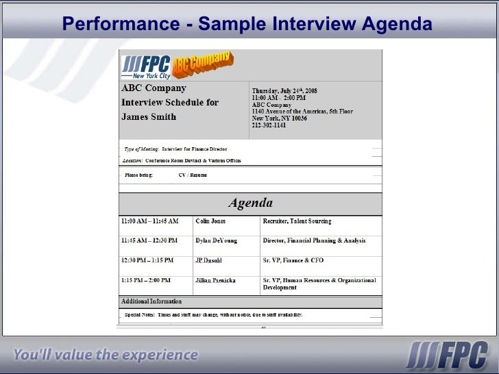 Interview Agenda Template  Minute Interview Presentation Template