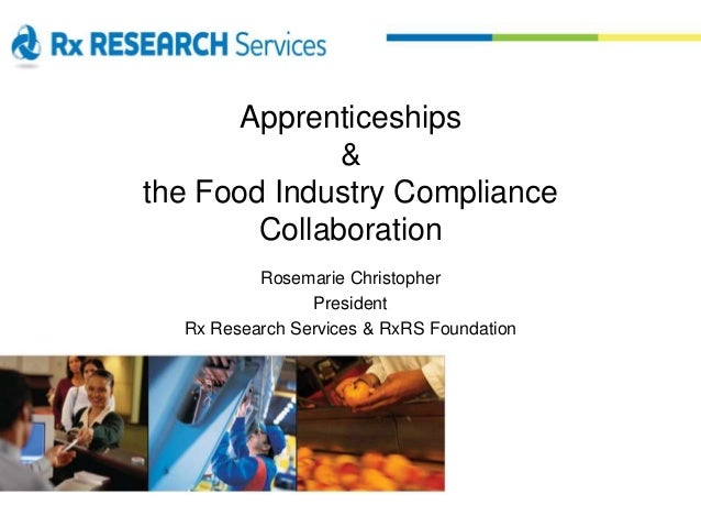 Apprenticeships & the Food Industry Compliance Collaboration Rosemarie Christopher President Rx Research Services & RxRS F...