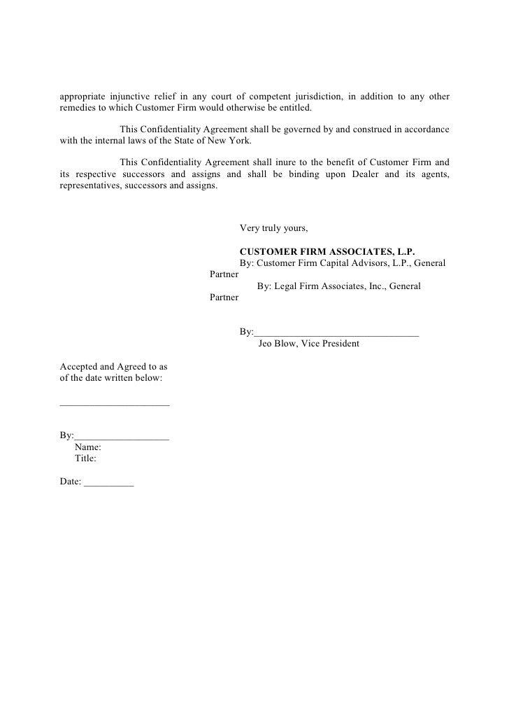 Generic Confidentiality Agreement