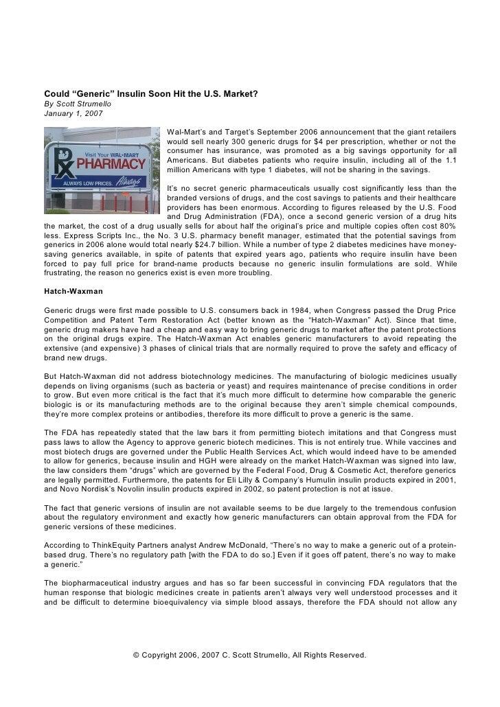 "Could ""Generic"" Insulin Soon Hit the U.S. Market? By Scott Strumello January 1, 2007                                    Wa..."