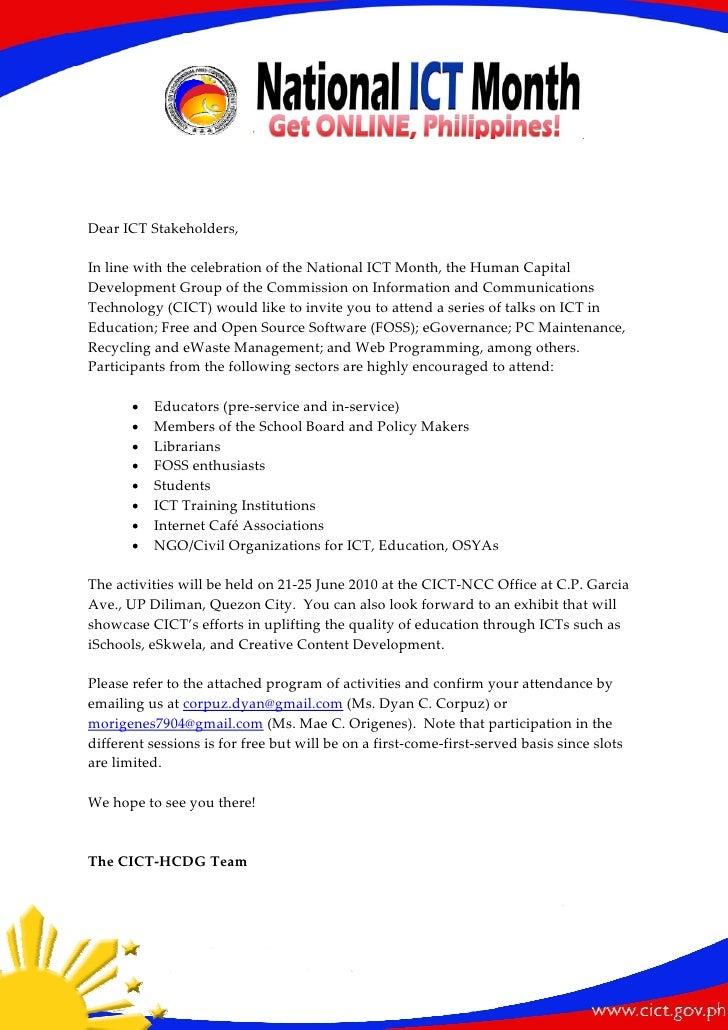 DearICTStakeholders,  InlinewiththecelebrationoftheNationalICTMonth,theHumanCapital DevelopmentG...