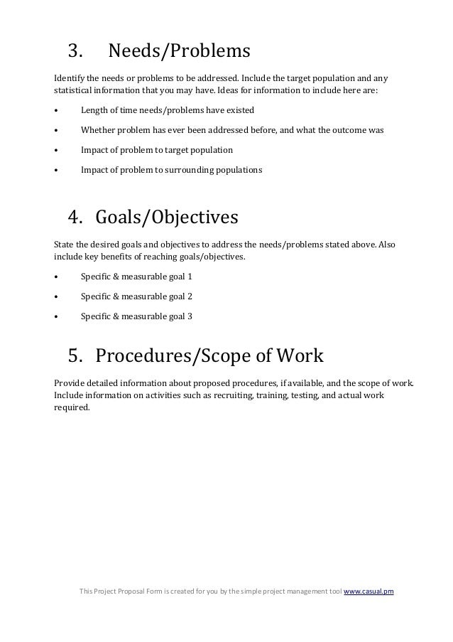 generic project proposal template