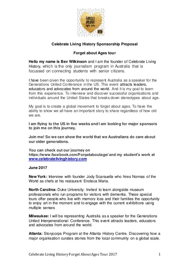 Celebrate Living History Forget About Ages Tour 2017 1 Celebrate Living History Sponsorship Proposal Forget about Ages tou...