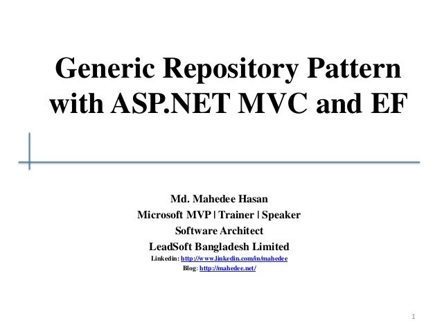 Generic repository pattern with ASP.NET MVC and Entity ...
