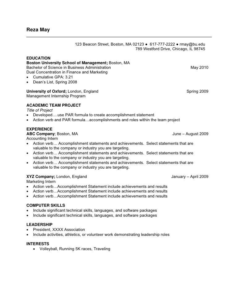 Undergraduate Sample Resume. Reza May 123 Beacon Street, Boston, MA 02123 ○  617 777 2222