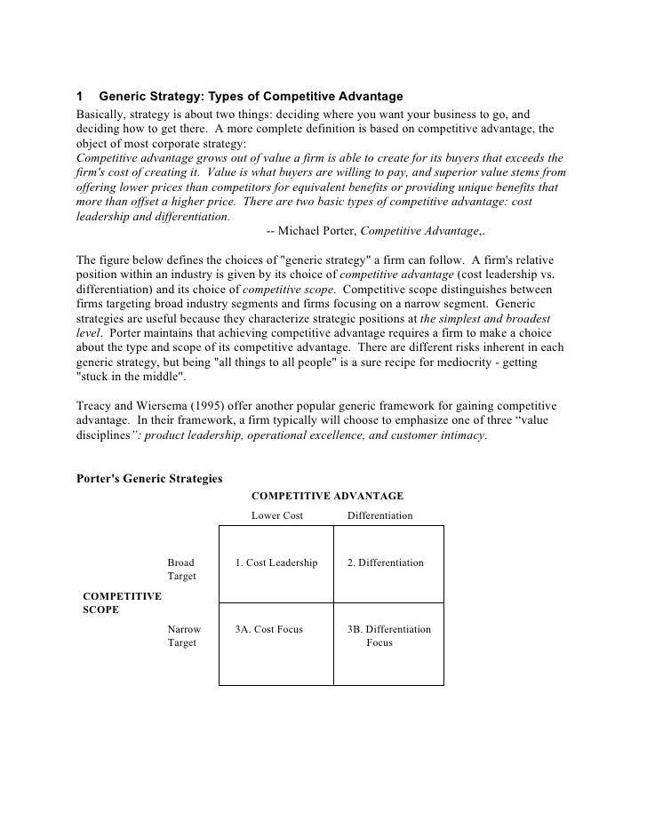 Generic strategy & competative advantage