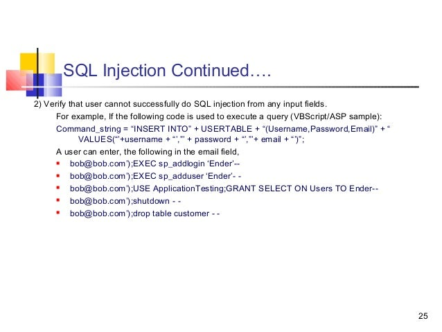 Generic test cases guidelines - Sql injection drop table example ...