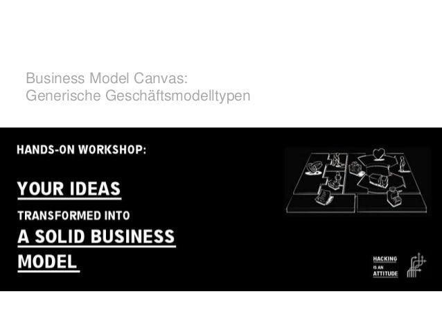 Business Model Canvas: Generische Geschäftsmodelltypen  © ZU   2012-07