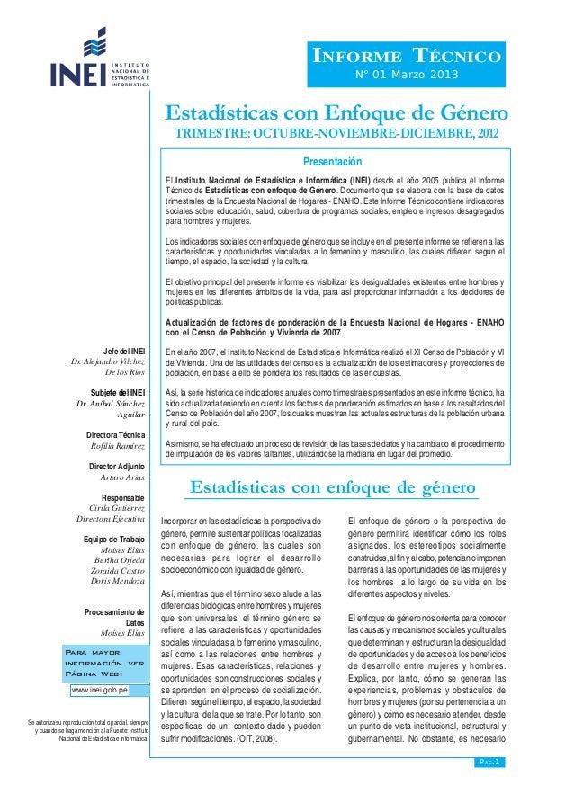 Estadísticas con Enfoque de Género TRIMESTRE:OCTUBRE-NOVIEMBRE-DICIEMBRE,2012 El Instituto Nacional de Estadística e Infor...