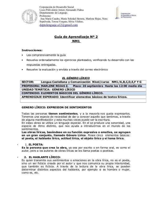 Corporación de Desarrollo Social Liceo Polivalente Arturo Alessandri Palma Departamento de Lenguaje. Profesoras: Ana María...