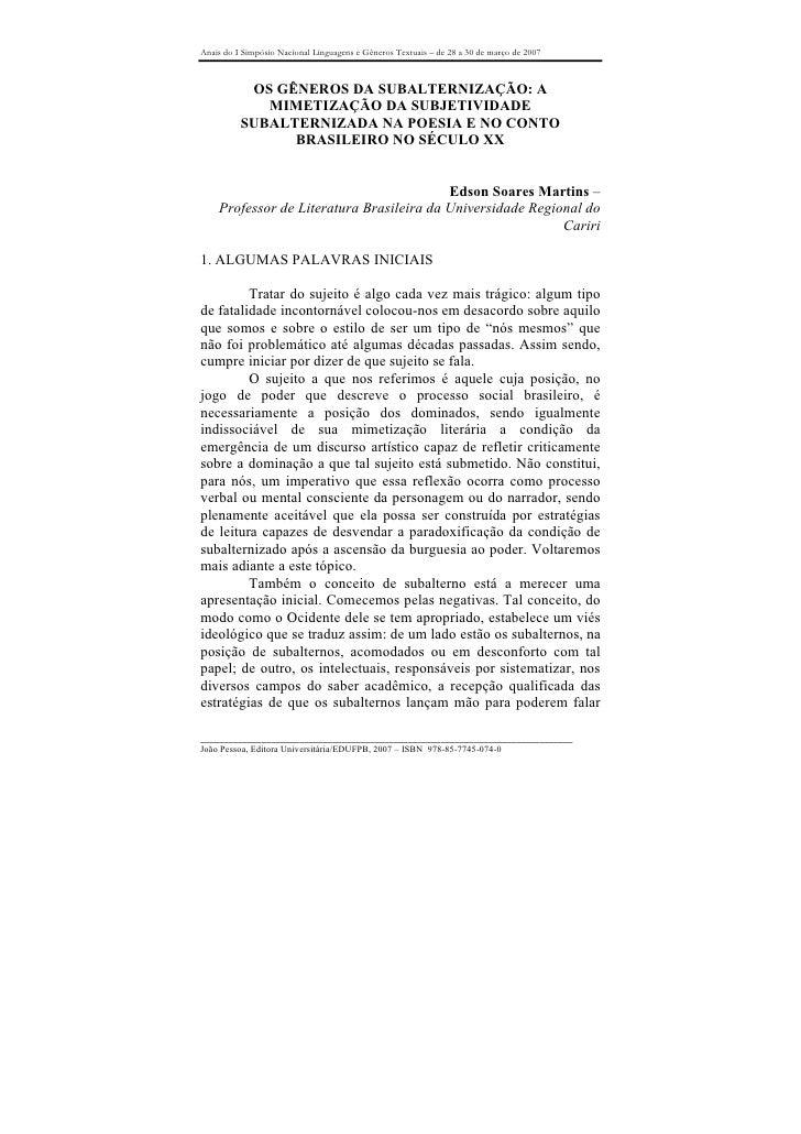 Anais do I Simpósio Nacional Linguagens e Gêneros Textuais – de 28 a 30 de março de 2007               OS GÊNEROS DA SUBAL...