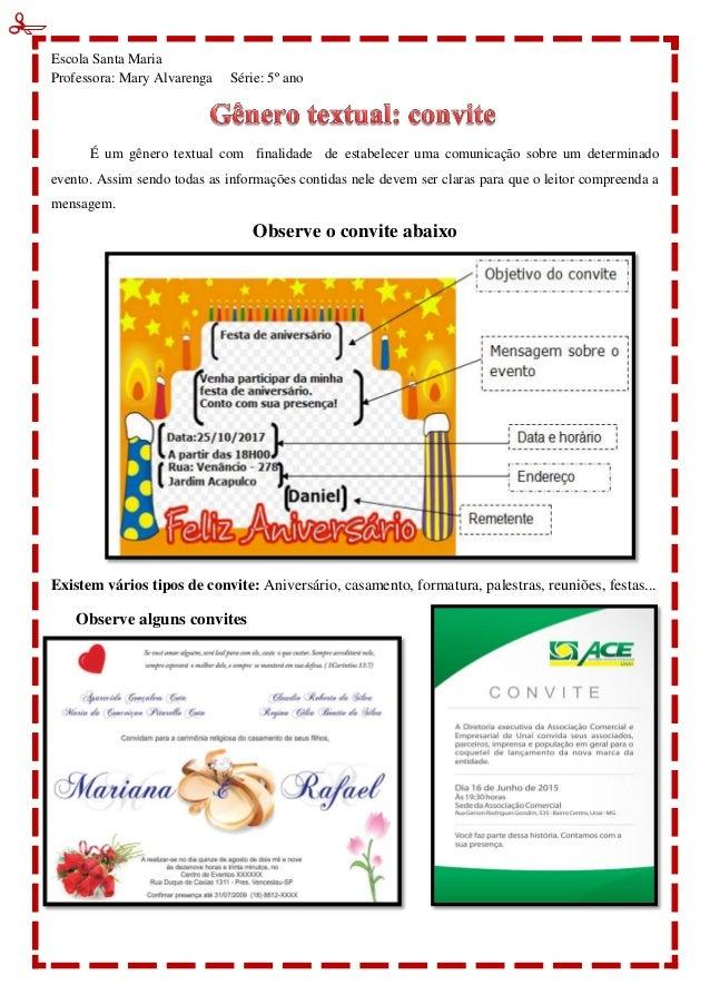 Gênero Textual Cartão Convite Biografia Narração