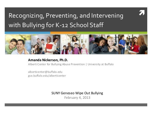 Recognizing, Preventing, and Intervening                                     with Bullying for K-12 School Staff      Ama...