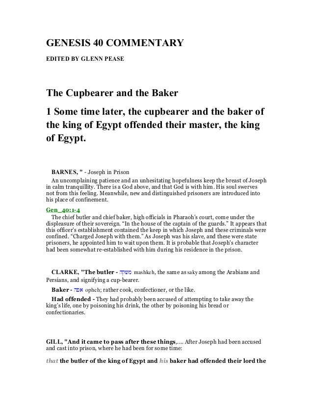GE ESIS 40 COMME TARY EDITED BY GLE PEASE The Cupbearer And Baker 1 Some King Of Egypt