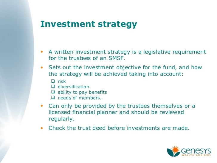 Smsf investment strategy diversification.
