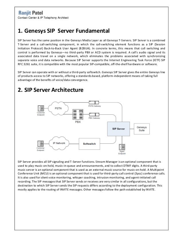 Genesys Sip Server Architecture