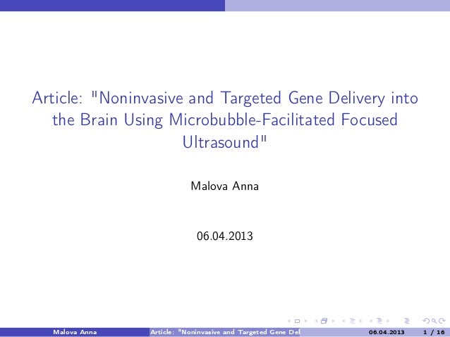 "Article: ""Noninvasive and Targeted Gene Delivery into the Brain Using Microbubble-Facilitated Focused Ultrasound"" Malova A..."