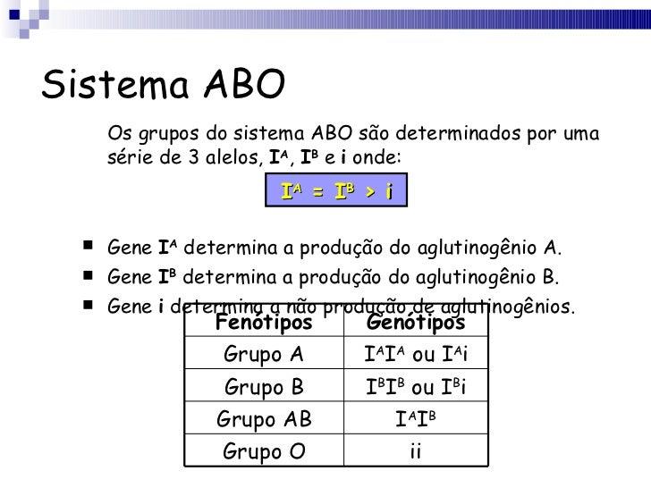 Sistema ABO <ul><li>Os grupos do sistema ABO são determinados por uma série de 3 alelos,  I A ,  I B  e  i  onde: </li></u...