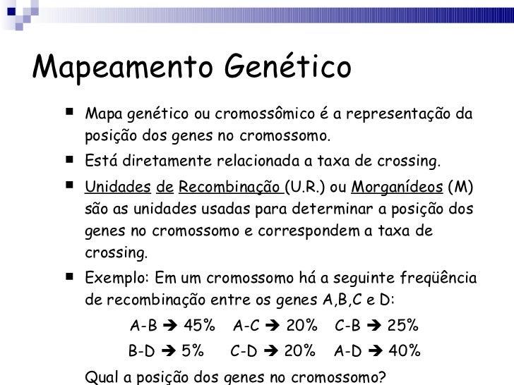 Mapeamento Genético <ul><li>Mapa genético ou cromossômico é a representação da posição dos genes no cromossomo. </li></ul>...