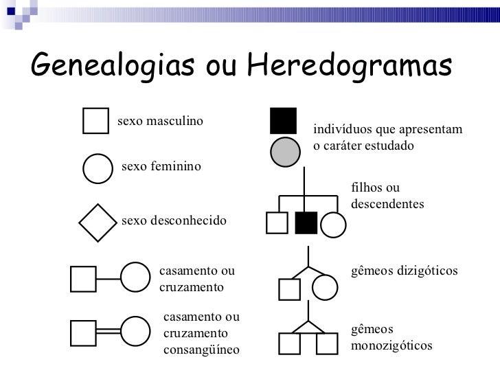 Genealogias ou Heredogramas sexo masculino sexo feminino sexo desconhecido casamento ou cruzamento casamento ou cruzamento...