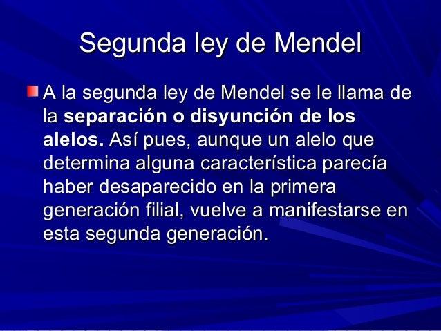 Segunda ley de MendelSegunda ley de Mendel A la segunda ley de Mendel se le llama deA la segunda ley de Mendel se le llama...