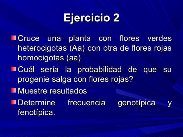 Ejercicio 2Ejercicio 2 Cruce una planta con flores verdesCruce una planta con flores verdes heterocigotas (Aa) con otra de...