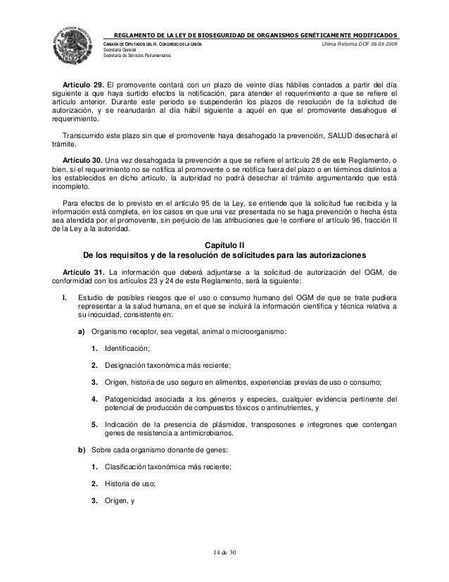REGLAMENTO DE LA LEY DE BIOSEGURIDAD DE ORGANISMOS GENÉTICAMENTE MODIFICADOS CÁMARA DE DIPUTADOS DEL H. CONGRESO DE LA UNI...