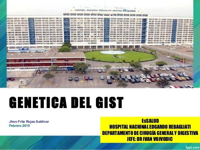 GENETICA DEL GIST Jhon Fritz Rojas Saldívar Febrero 2015 EsSALUD HOSPITAL NACIONAL EDGARDO REBAGLIATI DEPARTAMENTO DE CIRU...