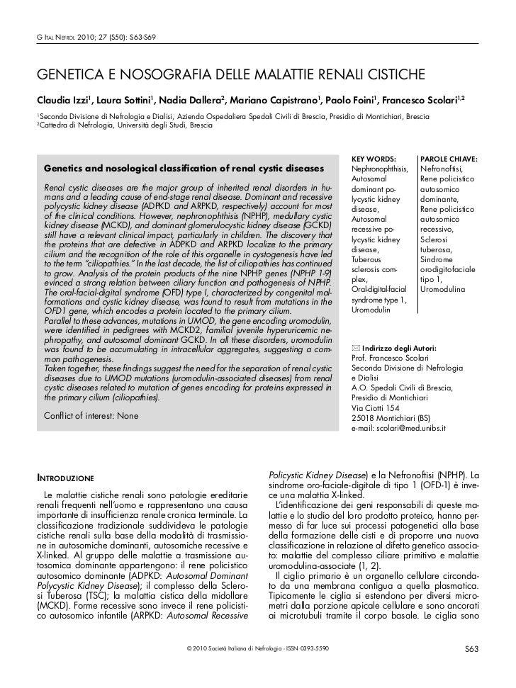 G Ital Nefrol 2010; 27 (S50): S63-S69GENETICA E NOSOGRAFIA DELLE MALATTIE RENALI CISTICHEClaudia Izzi1, Laura Sottini1, Na...