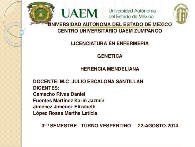 UNIVERSIDAD AUTONOMA DEL ESTADO DE MEXICO CENTRO UNIVERSITARIO UAEM ZUMPANGO LICENCIATURA EN ENFERMERIA GENETICA HERENCIA ...