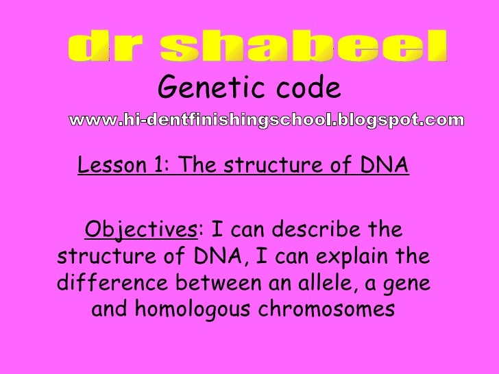 Genetic code Lesson 1: The structure of DNA Objectives : I can describe the structure of DNA, I can explain the difference...