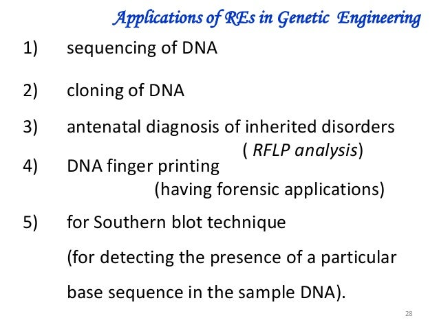 a study of applications and techniques of genetic engineering New applications like genetic engineering and cell fusion are come under  modern  the main techniques that gave birth to modern biotechnology are:  if  we study the biotechnological developmental applications up to present age, we  can.