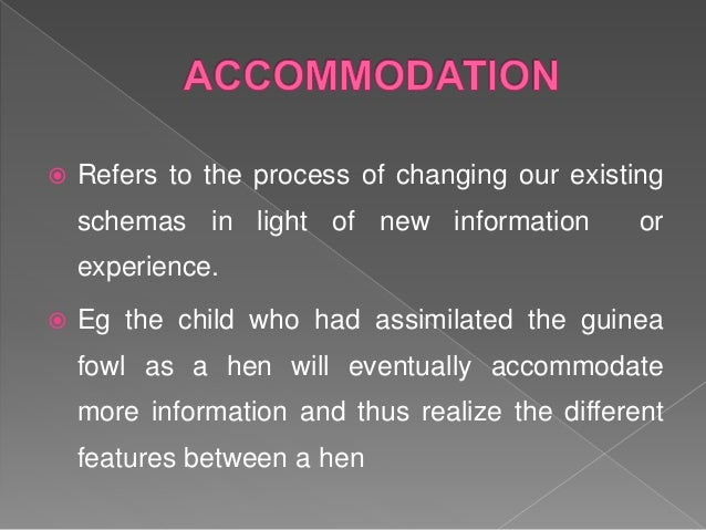  Equilibration is a balance between assimilation and accommodation.  When a child's schemas can deal with most new infor...