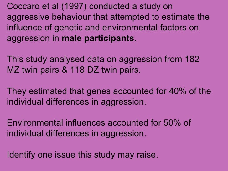genetic factors in aggressive behavior American renaissance news and the development of physical aggression in toddlers is strongly associated with genetic factors and to a lesser genetically informed studies of disruptive behavior and different forms of aggression across the lifespan generally conclude that.