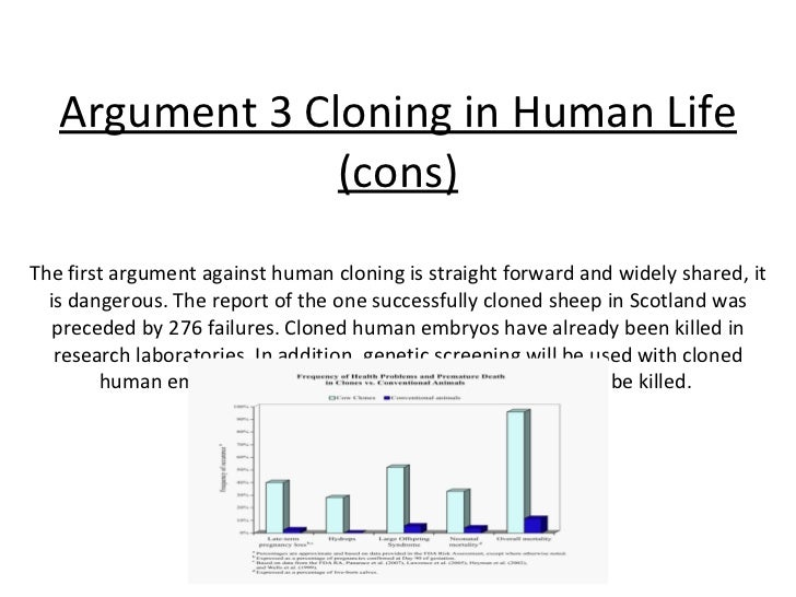 an argument on cloning human Human reproductive cloning, and the arguments often used to dismiss that  objection the objection i have in mind is the threat of psychological harms to  cloned.