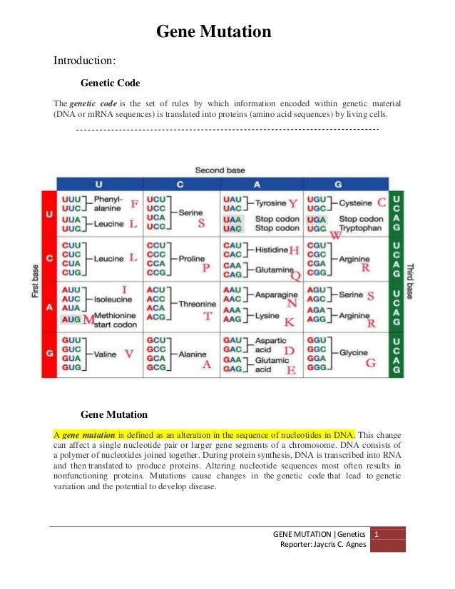 GENE MUTATION  GeneticsReporter: Jaycris C. Agnes1Introduction:Genetic CodeThe genetic code is the set of rules by which i...
