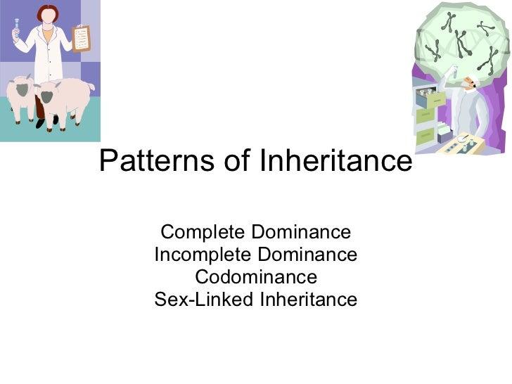 Patterns of Inheritance Complete Dominance Incomplete Dominance Codominance Sex-Linked Inheritance