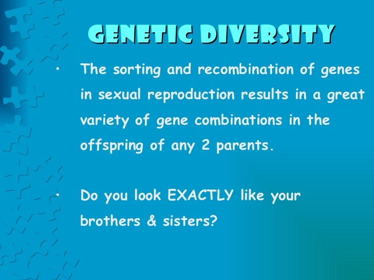 Genetic Diversity   <ul><li>The sorting and recombination of genes in sexual reproduction results in a great variety of ge...