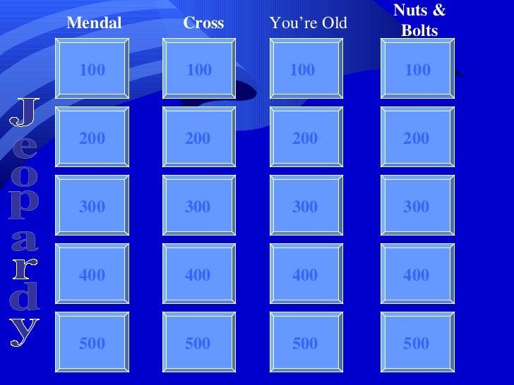 Jeopardy 100 100 100 100 200 300 400 500 Mendal Cross You're Old Nuts & Bolts Jeopardy 200 300 400 500 200 300 400 500 200...