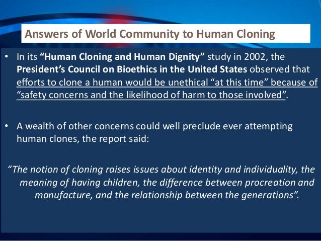 The legal aspects of human cloning