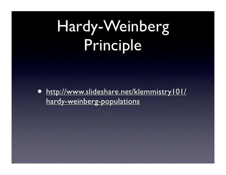 hardy weinberg notes The best way to gain an understanding about drift (finite population size) and selection is to play around with them try different population sizes (eg, 5 vs 25 vs 100 vs 1000) and different survival probabilities in the hardy-weinberg simulator.