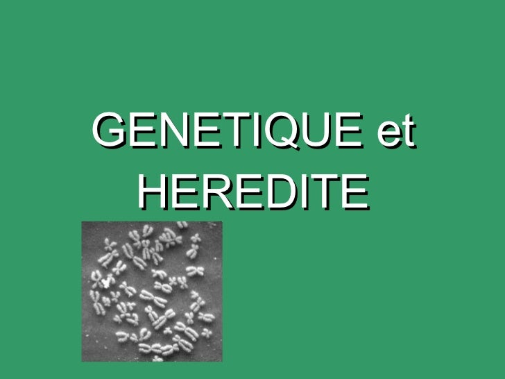 GENETIQUE et HEREDITE
